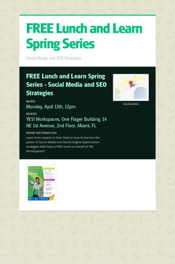 FREE Lunch and Learn Spring Series