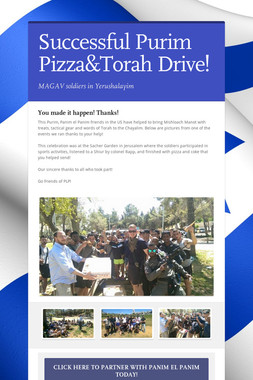 Successful Purim Pizza&Torah Drive!