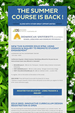 The Summer Course is Back !
