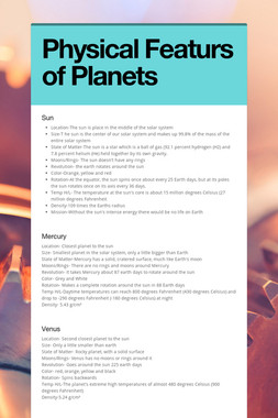 Physical Featurs of Planets