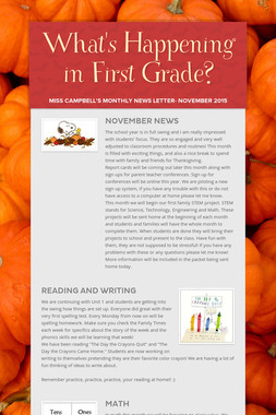 What's Happening in First Grade?