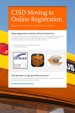 CISD Moving to Online Registration