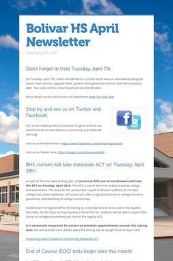 Bolivar HS April Newsletter