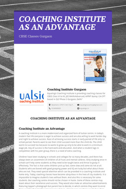 COACHING INSTITUTE AS AN ADVANTAGE