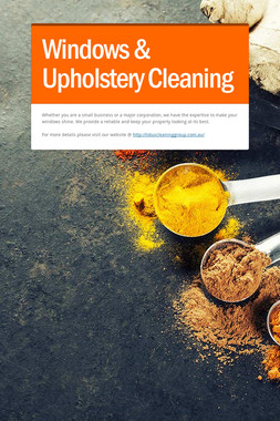 Windows & Upholstery Cleaning