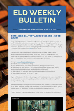 ELD Weekly Bulletin