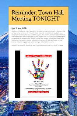 Reminder: Town Hall Meeting TONIGHT