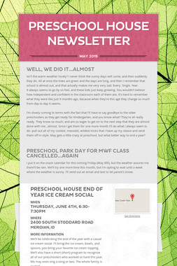 Preschool House Newsletter