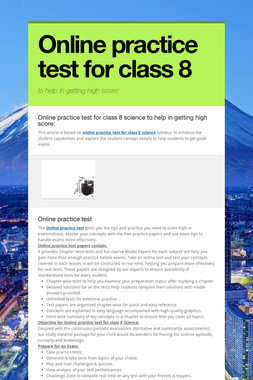 Online practice test for class 8