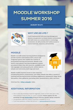 Moodle Workshop Summer 2016