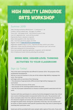 High Ability Language Arts Workshop