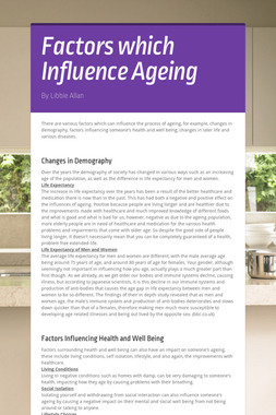 Factors which Influence Ageing