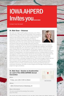 IOWA AHPERD Invites you.....