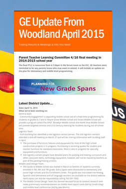 GE Update From Woodland April 2015