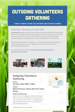Outgoing Volunteers Gathering