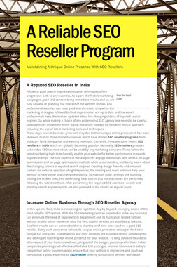 A Reliable SEO Reseller Program