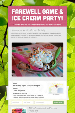 Farewell Game & Ice Cream Party!
