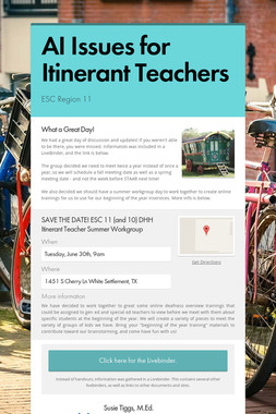 AI Issues for Itinerant Teachers