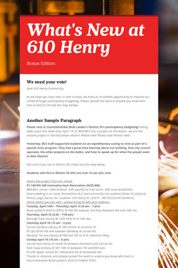 What's New at 610 Henry