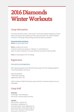 2016 Diamonds Winter Workouts