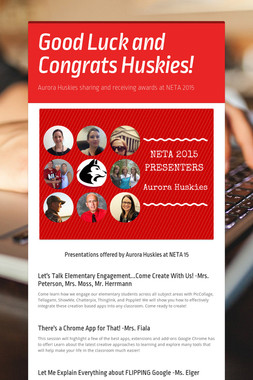 Good Luck and Congrats Huskies!