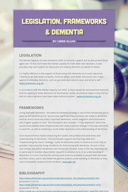 Legislation, Frameworks & Dementia