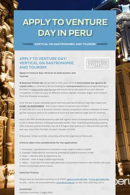 APPLY TO VENTURE DAY IN PERU