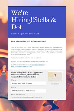 We're Hiring!!Stella & Dot