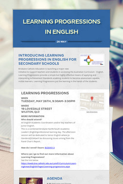 LEARNING PROGRESSIONS IN ENGLISH