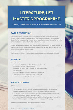 Literature, LET Master's Programme