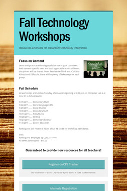 Fall Technology Workshops