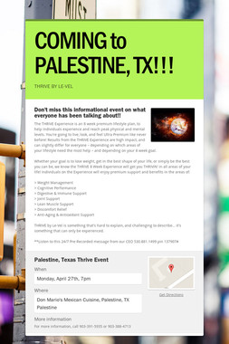 COMING to PALESTINE, TX!!!