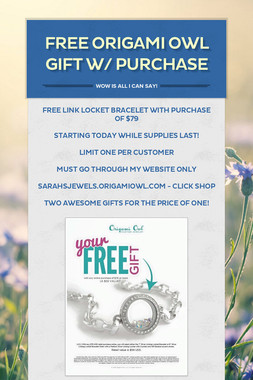 FREE ORIGAMI OWL GIFT W/ PURCHASE