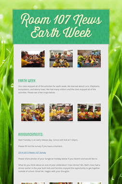 Room 107 News Earth Week