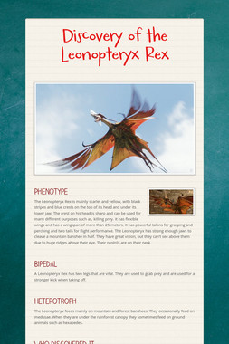 Discovery of the Leonopteryx Rex