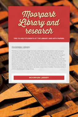 Moorpark Library and research