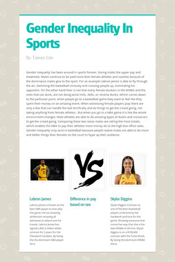 Gender Inequality In Sports