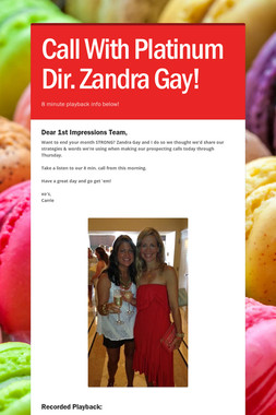 Call With Platinum Dir. Zandra Gay!