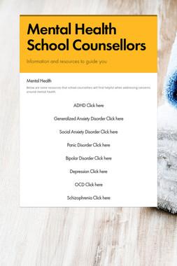 Mental Health  School Counsellors