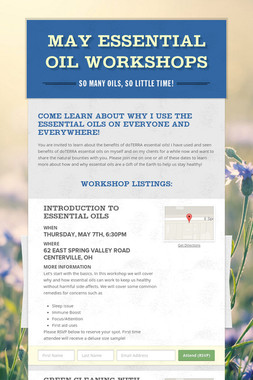 May Essential Oil Workshops