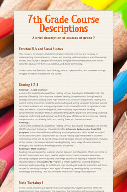 7th Grade Course Descriptions