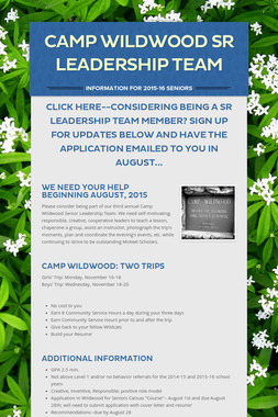 Camp Wildwood Sr Leadership Team