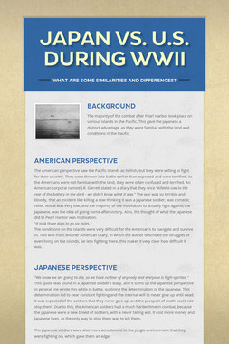 Japan vs. U.S. during WWII