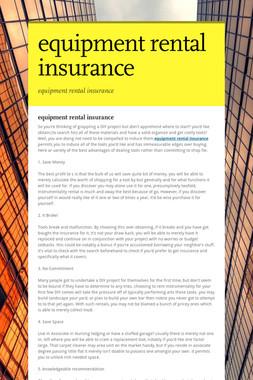 equipment rental insurance