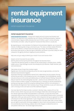 rental equipment insurance