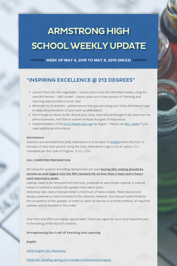 Armstrong High School Weekly Update