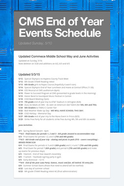 CMS End of Year Events Schedule