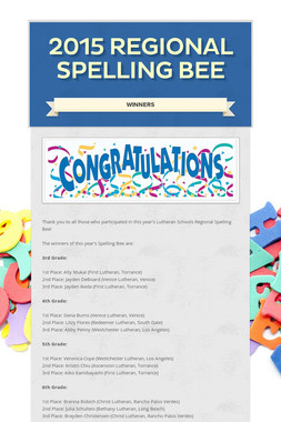2015 Regional Spelling Bee