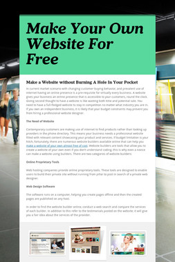 Make Your Own Website For Free