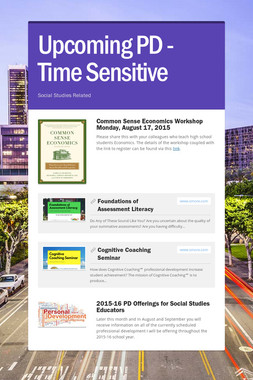 Upcoming PD - Time Sensitive
